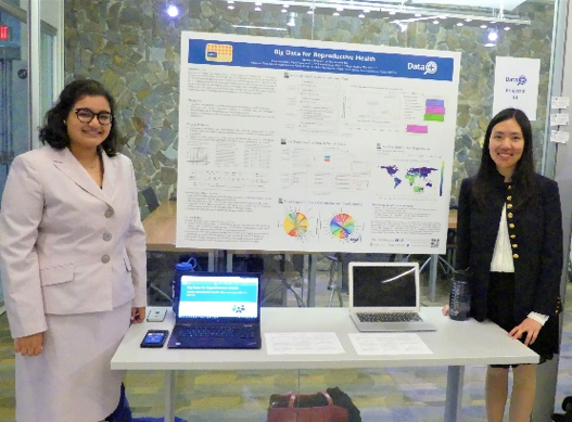 Saumya Sao and Melanie Lai Wai present their Data+ project poster, Big Data for Reproductive Health, which will continue as a Bass Connections project this academic year